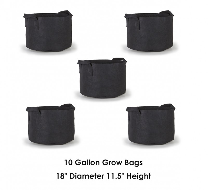 Hydroplanet 10 Gallon Grow Bags 5 Packs / Aeration Fabric Pots w/ Handles (Black)