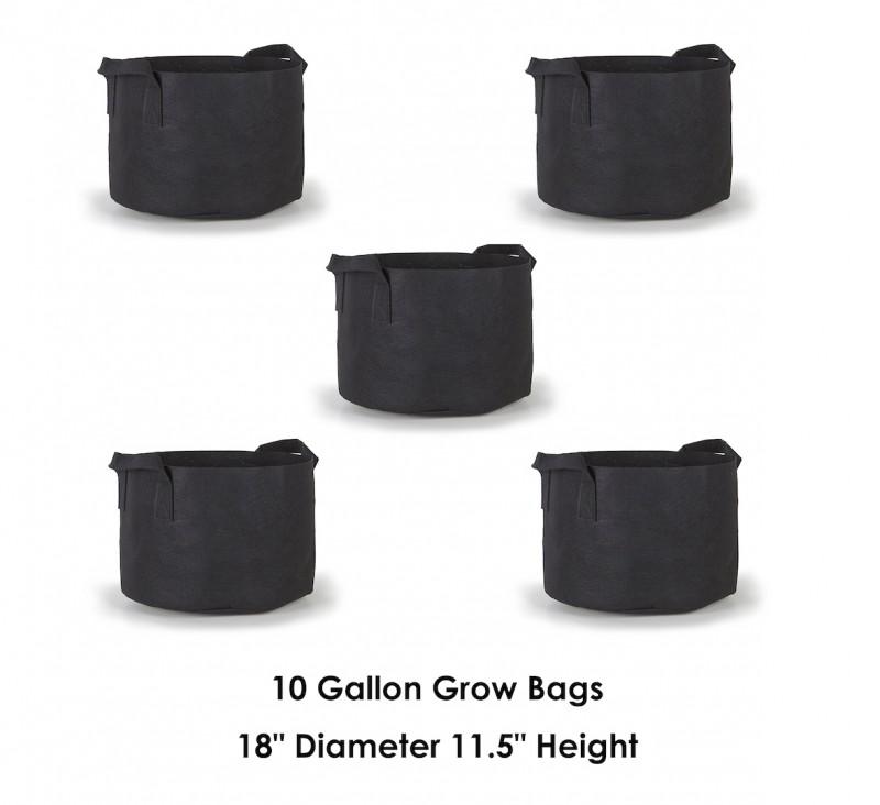 Hydroplanet 10 Gallon Grow Bags 5 Packs / Aeration Fabric Pots w/ Handles (Black)