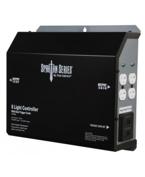 Titan Controls Spartan Series Metal 8 Light Controller 240 Volt w/ Dual Trigger Cords - Universal Outlets (4/Cs)