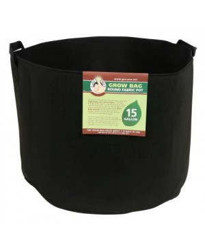 Gro Pro Premium Round Fabric Pot w/ Handles 15 Gallon - Black (48/Cs)