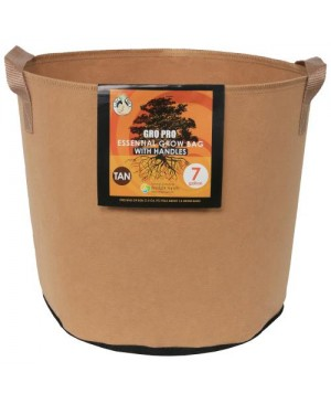 Gro Pro Essential Round Fabric Pot w/ Handles 7 Gallon - Tan (84/Cs)