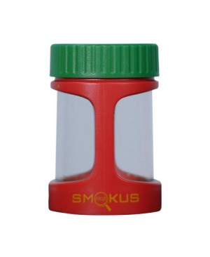 Smokus Focus Stash Display Container w/ LED Light and Dual Magnification - Rasta (Red/Green/Yellow) (8/Cs)