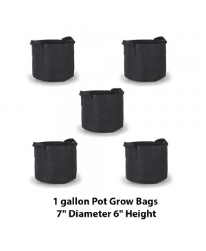 Hydroplanet 1 Gallon Grow Bags 5 Packs / Aeration Fabric Pots w/ Handles (Black)