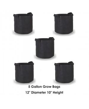 Hydroplanet 5 Gallon Grow Bags 5 Packs / Aeration Fabric Pots w/ Handles (Black)